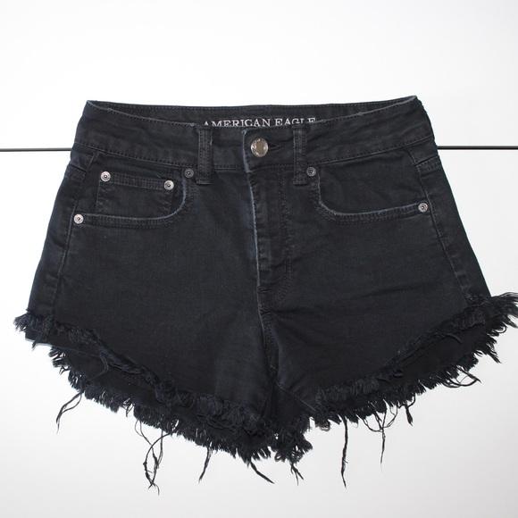 American Eagle Outfitters Pants - American Eagle Hi-Rise Festival Black Denim Shorts